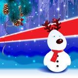 Snow reindeer christmas background Stock Photo