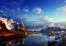 Snow in Reine Village, Lofoten Islands Stock Photography