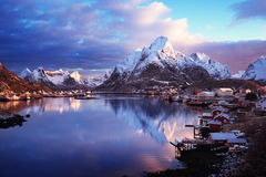 Snow in Reine Village, Lofoten Islands Stock Photos