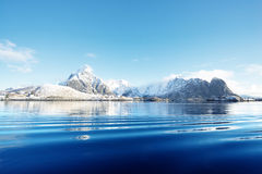 Snow in Reine Village, Lofoten Islands Royalty Free Stock Photo