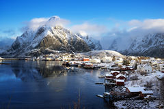 Snow in Reine Village, Lofoten Islands Royalty Free Stock Image