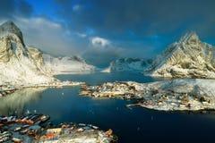 Snow in Reine Village, Lofoten Islands Royalty Free Stock Photo