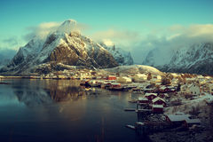 Snow in Reine Village, Lofoten Islands, Norway Royalty Free Stock Photography