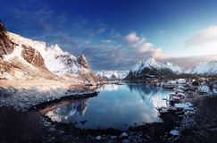 Snow in Reine Village, Lofoten Islands, Norway Stock Images