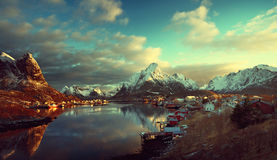Snow in Reine Village, Lofoten Islands, Norway Stock Photography