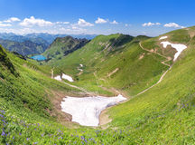 Snow remains in the Allgau Alps Stock Photos