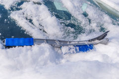Snow removal from car body Royalty Free Stock Photography