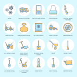 Snow removal colored flat line icons. Ice relocation service signs. Cold weather equipment - snow thrower, blower, truck Stock Images
