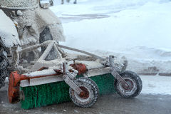 Snow removal equipment attached to tractor. Rear view, close-up Royalty Free Stock Photography