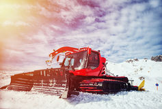 Snow removal equipment on the hillside Royalty Free Stock Photos