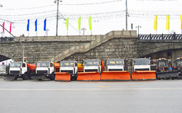 Snow removal equipment near the Stone Bridge Royalty Free Stock Photos