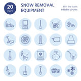 Snow removal flat line icons. Ice relocation service signs. Cold weather equipment - snow thrower, blower, truck, front Royalty Free Stock Photos