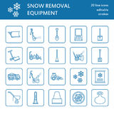 Snow removal flat line icons. Ice relocation service signs.   Royalty Free Stock Photos