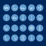 Snow removal flat line icons. Ice relocation service signs. Cold weather equipment - snow thrower, blower, truck, front Stock Image