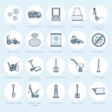 Snow removal flat line icons. Ice relocation service signs. Cold weather equipment - snow thrower, blower, truck, front Royalty Free Stock Photo