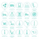 Snow removal flat line icons. Ice relocation service signs. Cold weather equipment - snow thrower, blower, truck, front Royalty Free Stock Photography