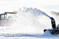 Snow removal machine in action Royalty Free Stock Photo