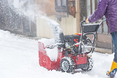 Snow removal machine. Close up of snow removal machine working on the street takayama Japan stock photo