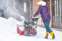 Snow removal machine. Close up of snow removal machine working on the street takayama Japan royalty free stock images