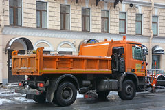Snow removal machines on the street Stock Photo