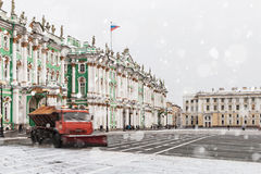 Snow removal on the Palace Square in St. Petersburg. Russia Stock Image