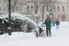 Snow removal in the park Stock Photography