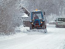 Snow removal from road Royalty Free Stock Images
