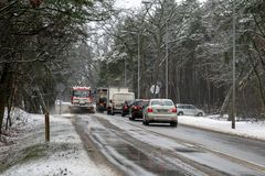 Snow removal of the road royalty free stock image