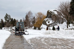 Snow removal after a snowfall the memorial complex Mamaev Kurgan Royalty Free Stock Photo