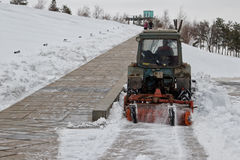 Snow removal after a snowfall the memorial complex Mamaev Kurgan Royalty Free Stock Photo