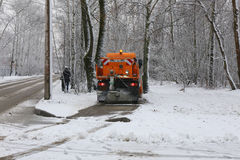 Snow removal from streets snowthrower Stock Image