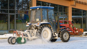 Snow removal tractor. Royalty Free Stock Photos
