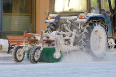 Snow removal tractor. Royalty Free Stock Photography