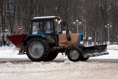 Snow-removal tractors. Royalty Free Stock Photo