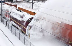 Snow removal train Stock Images