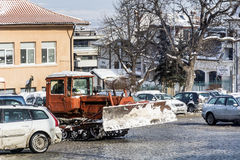 Snow removal truck in Sofia,Bulgaria Stock Image