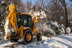 Snow removal vehicle cleaning. After snowstorm Stock Photo