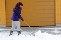 Snow removal in winter Royalty Free Stock Image
