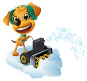 Snow removal. Yellow dog cleans snow with snow removing machine. Isolated on white fun vector cartoon illustration Stock Photography