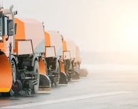 Snow-removing machine, on roads cleaning snow. Stock Photography