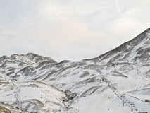 Snow Resort. Ski slopes in a high mountain area Stock Image