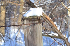 Snow rests on a barbed wire fence post Stock Photography