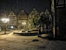 Snow in Rinteln Germany. Historic City Winter view Snow Royalty Free Stock Photo