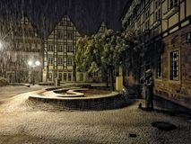 Snow in Rinteln. GERMANY Winter 2016 royalty free stock image