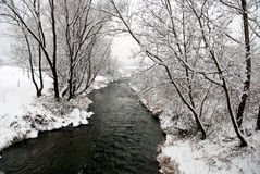 Snow river Royalty Free Stock Photos