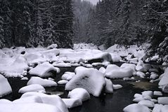 Snow on a river Stock Photography