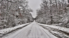 Snow Road Royalty Free Stock Images