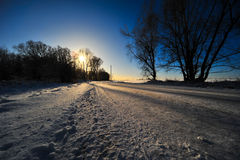 Snow on the road. In the countryside stock photo
