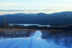 Snow road Stock Photos