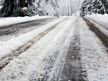 Snow on road Stock Photos